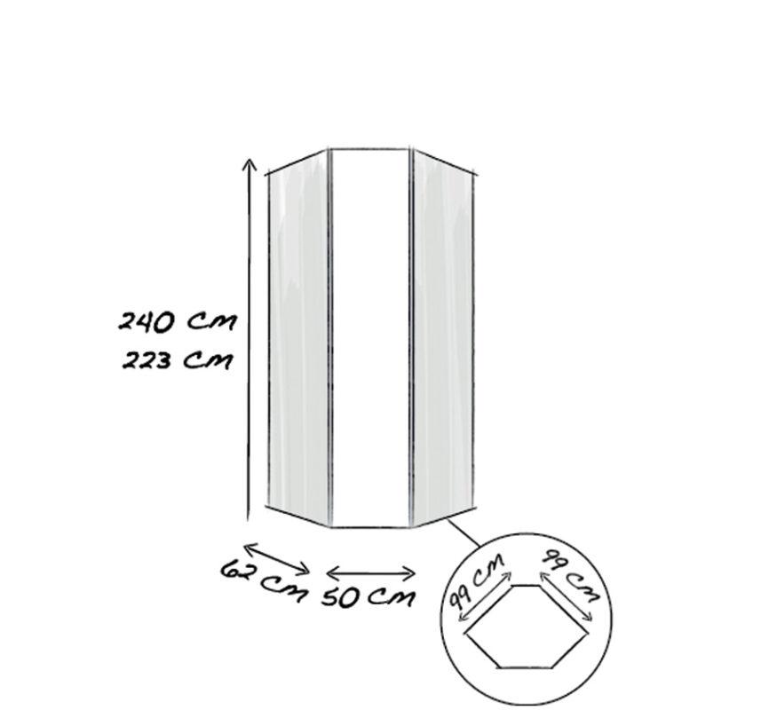 45°-Eckelement 1-türig 50cm