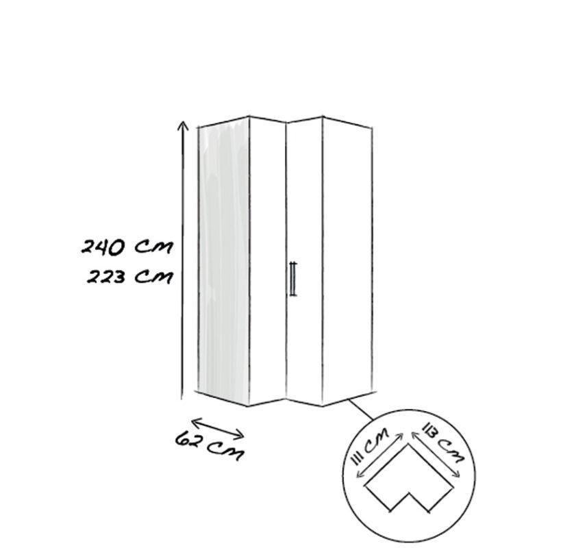 90°-Eckelement 2-türig